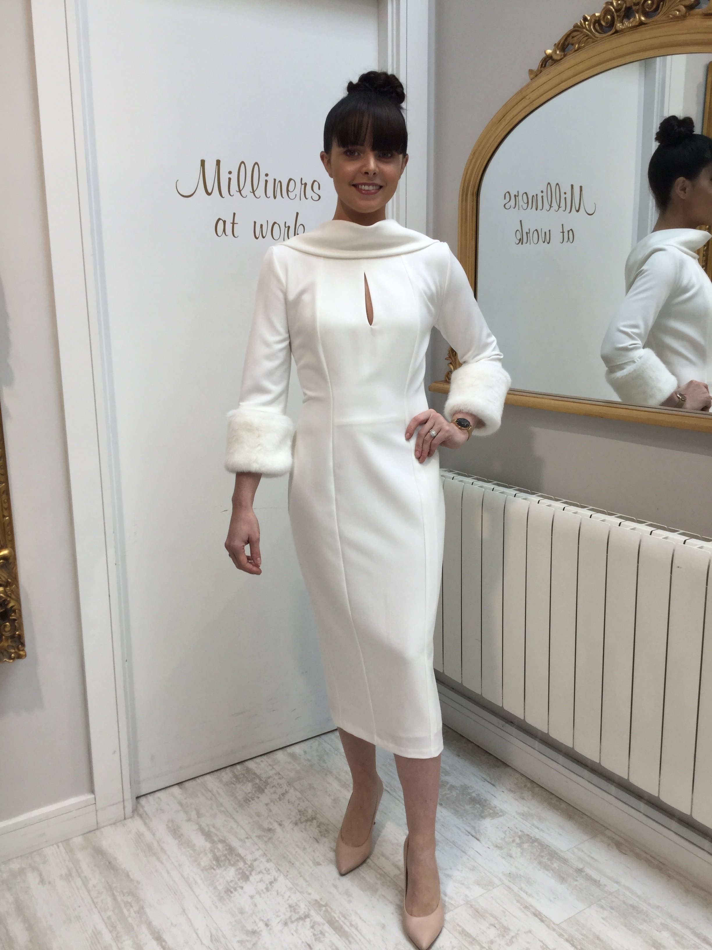 Ivory Dress with Roll Collar and Detachable Fur Cuffs FADRIV