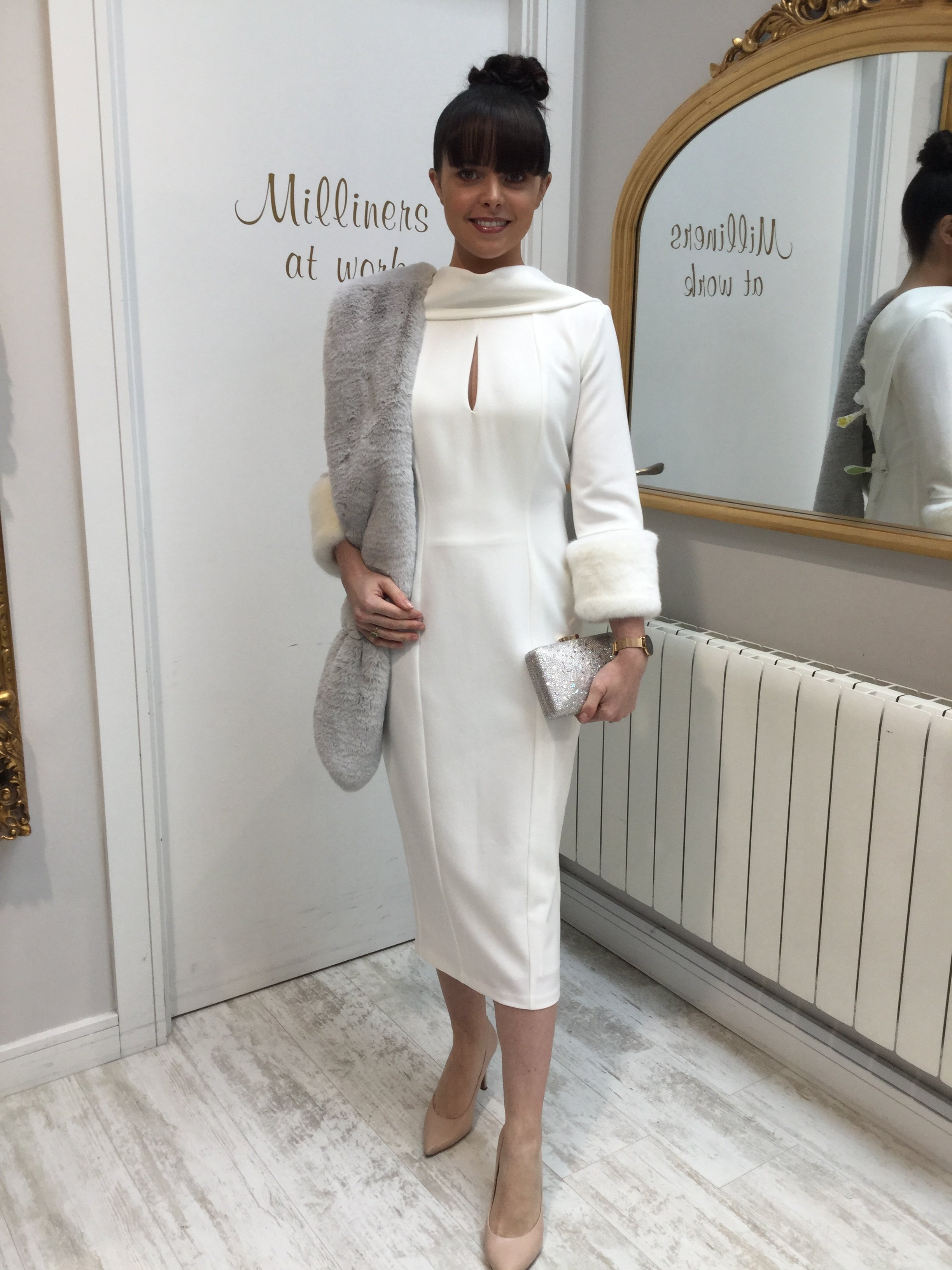 Ivory Dress with Roll Collar and Detachable Fur Cuffs