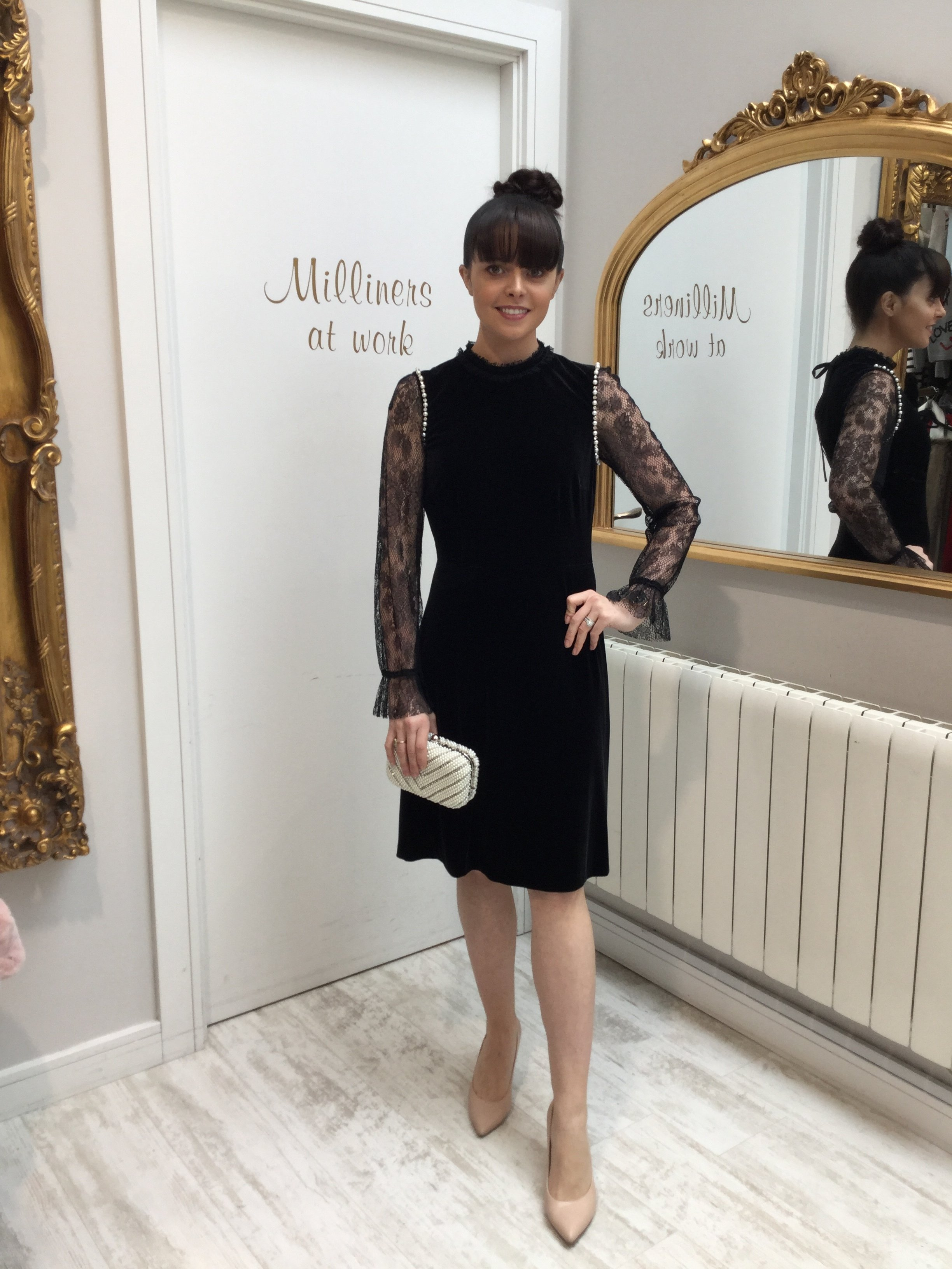 Black Velvet Dress with Lace Sleeve and Pearl Detail GBDRBKVEL
