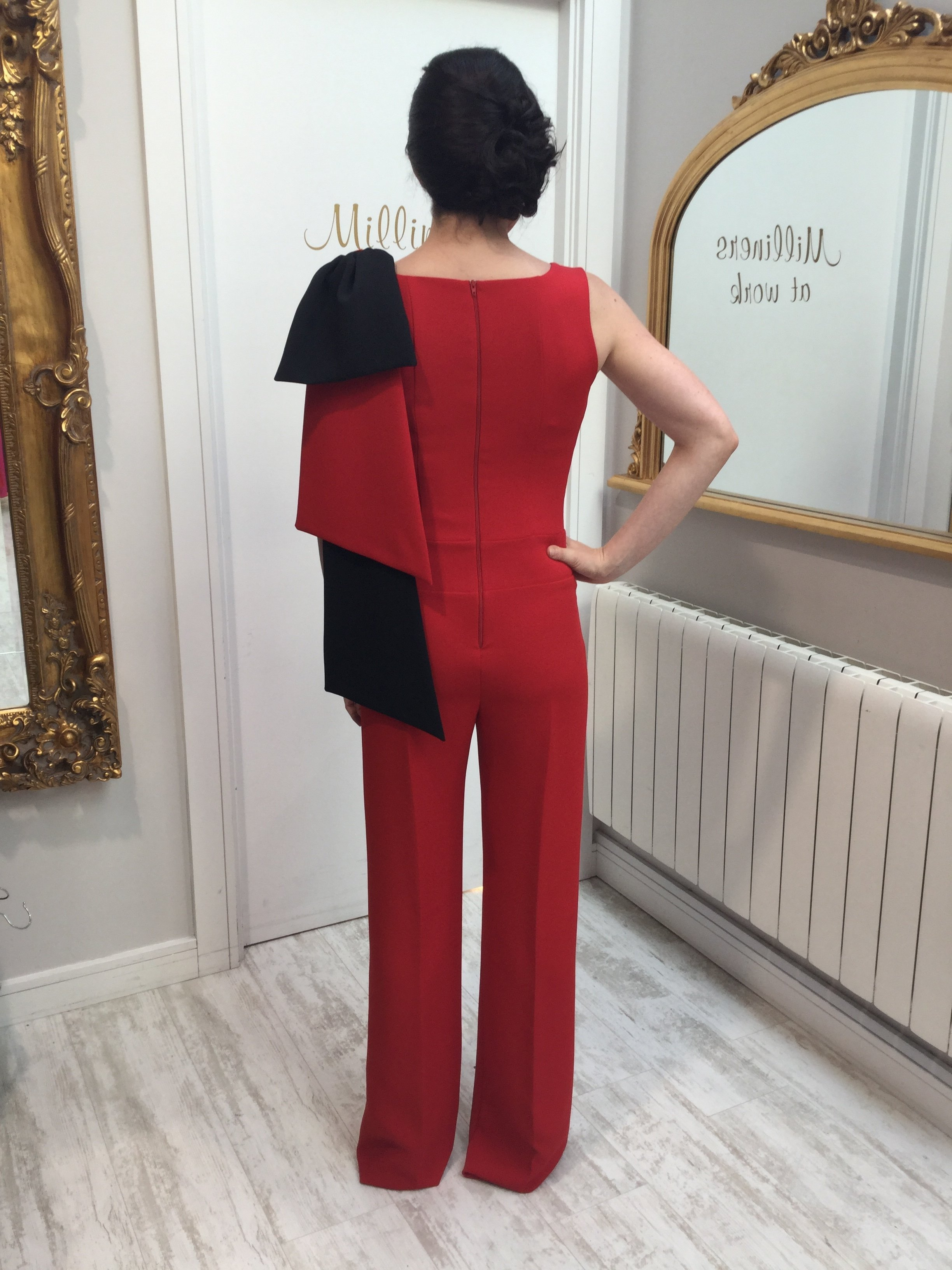 Red Jumpsuit with Bow on the shoulder