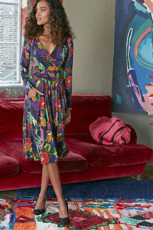 Jaclyn Dress in Frida Red Print ONJDRJACL