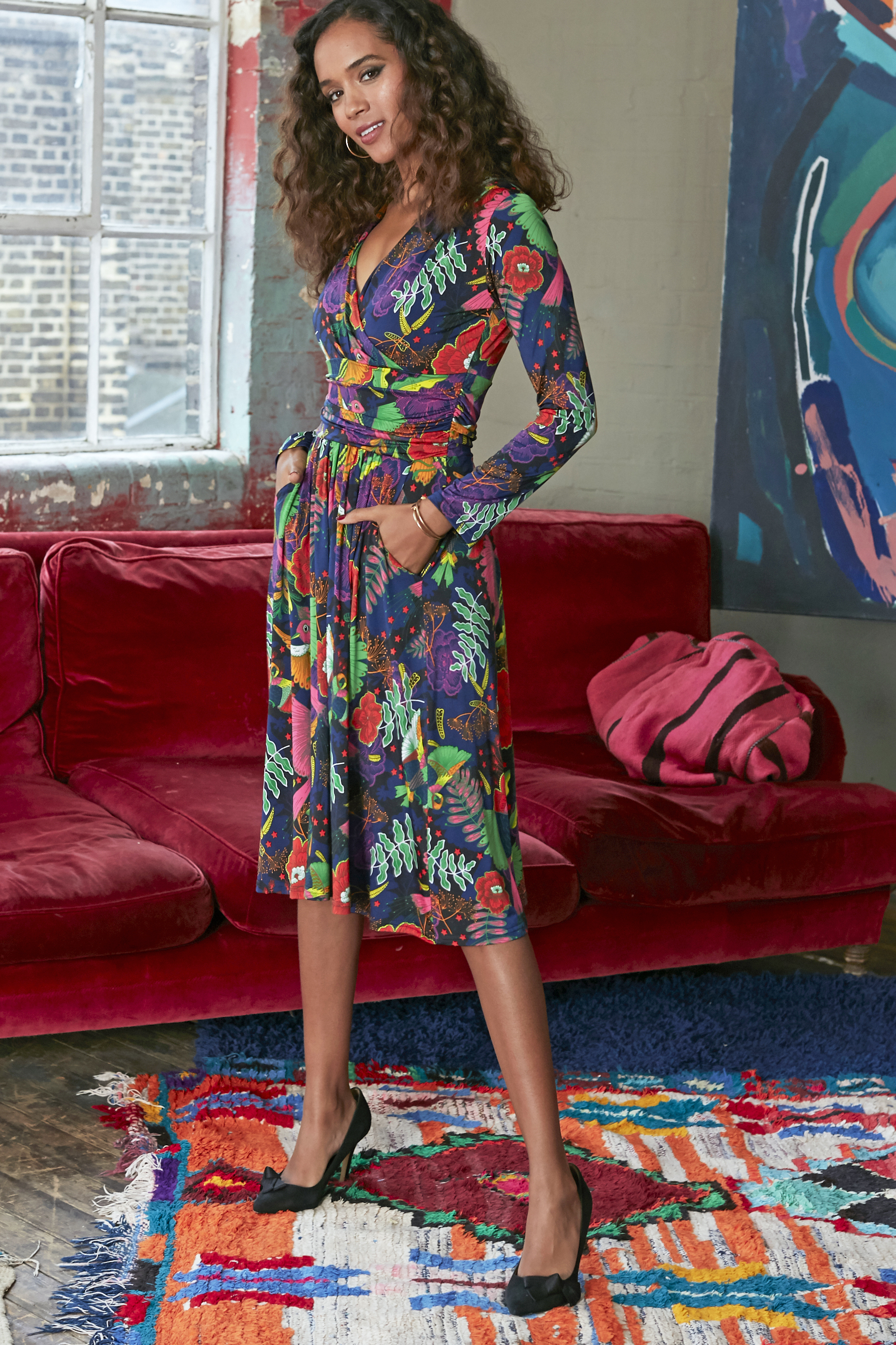 Jaclyn Dress in Frida Red Print