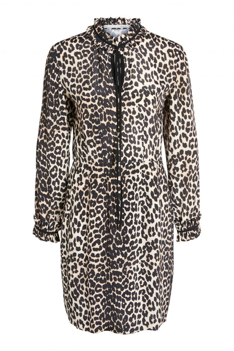 Leopard Print Dress with Ruffle Detail at the neck and cuff