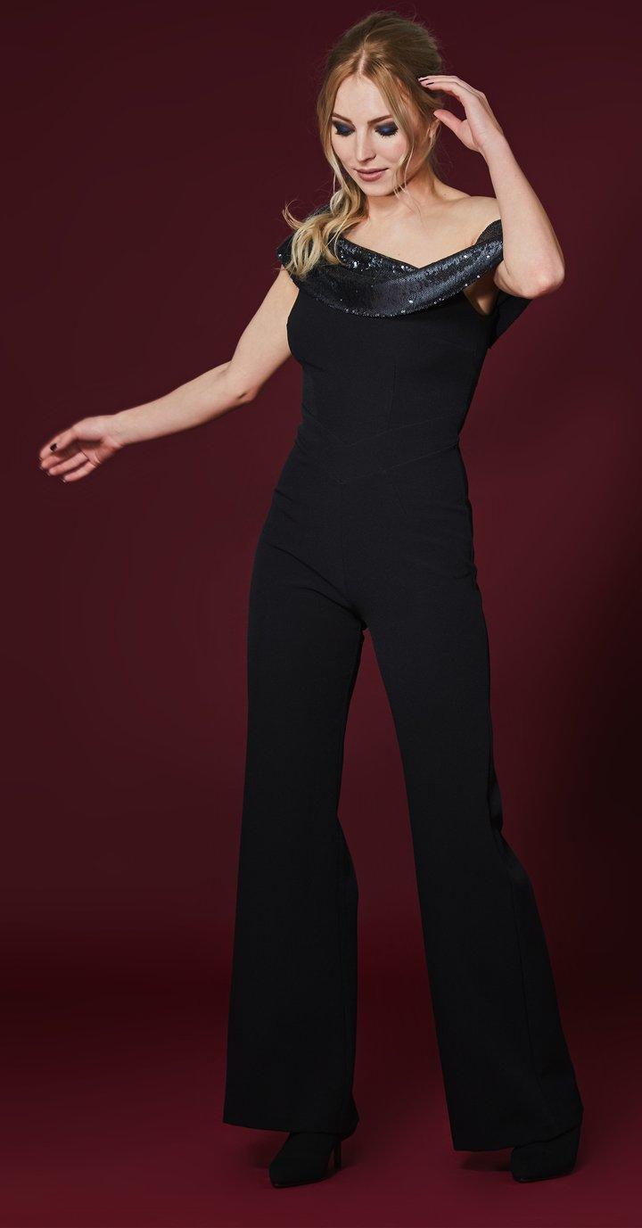 Serres Jumpsuit in Black with Silver sequin neckline MELJUBK