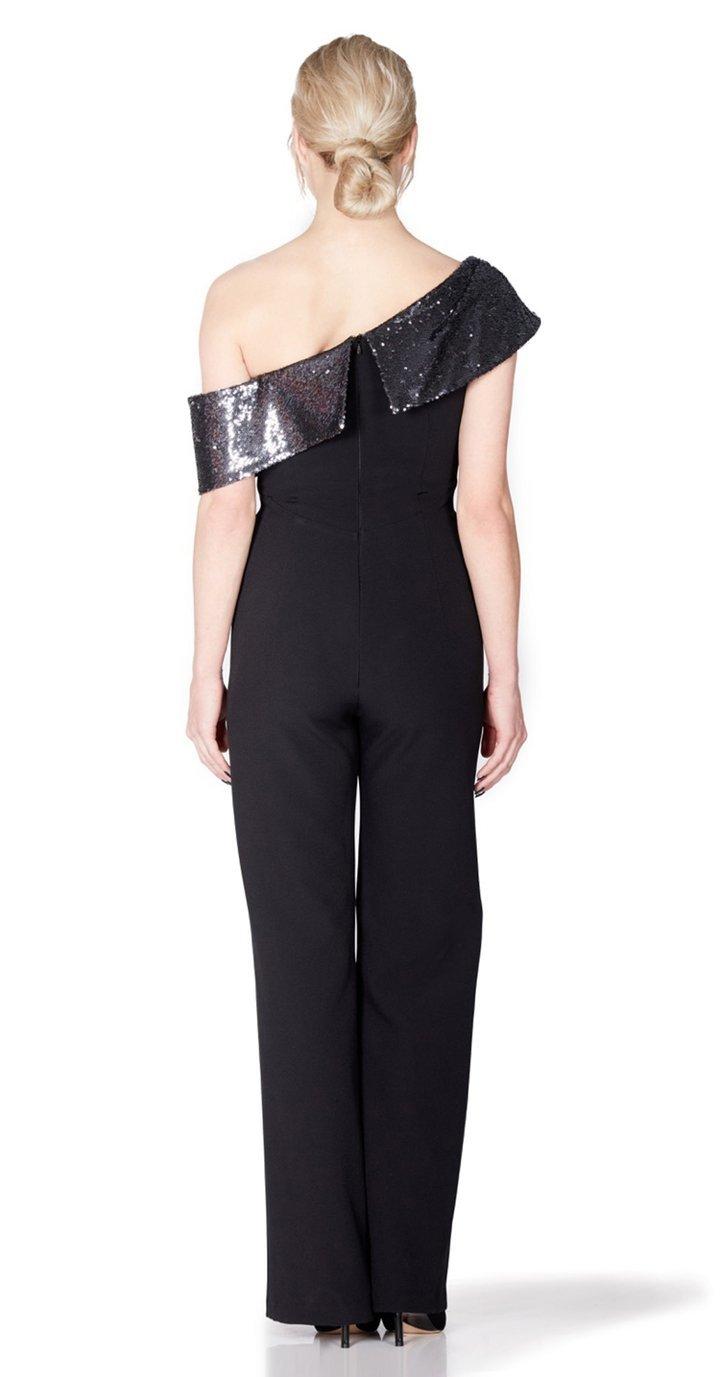 Serres Jumpsuit in Black with Silver sequin neckline