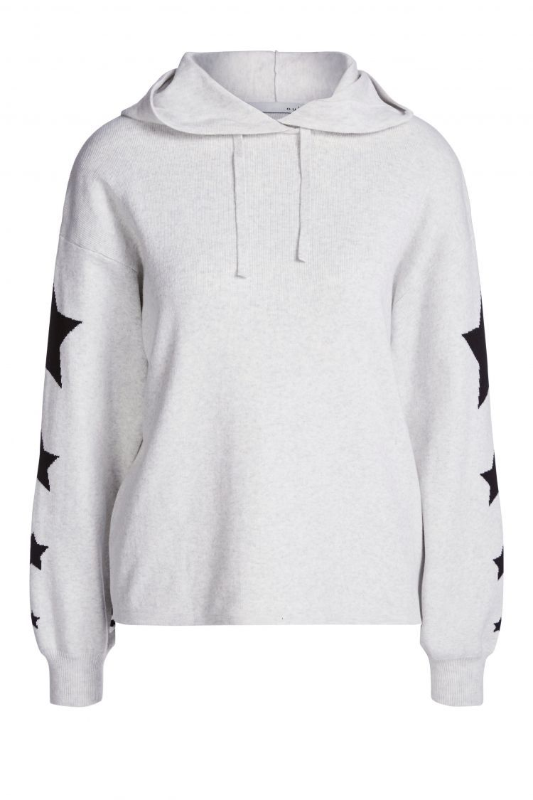 Hooded Sweater in light grey with black stars on the sleeves