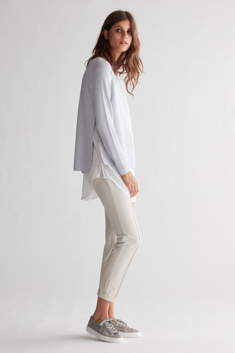 Grey Sweater with white blouse effect trim OUISWGRY
