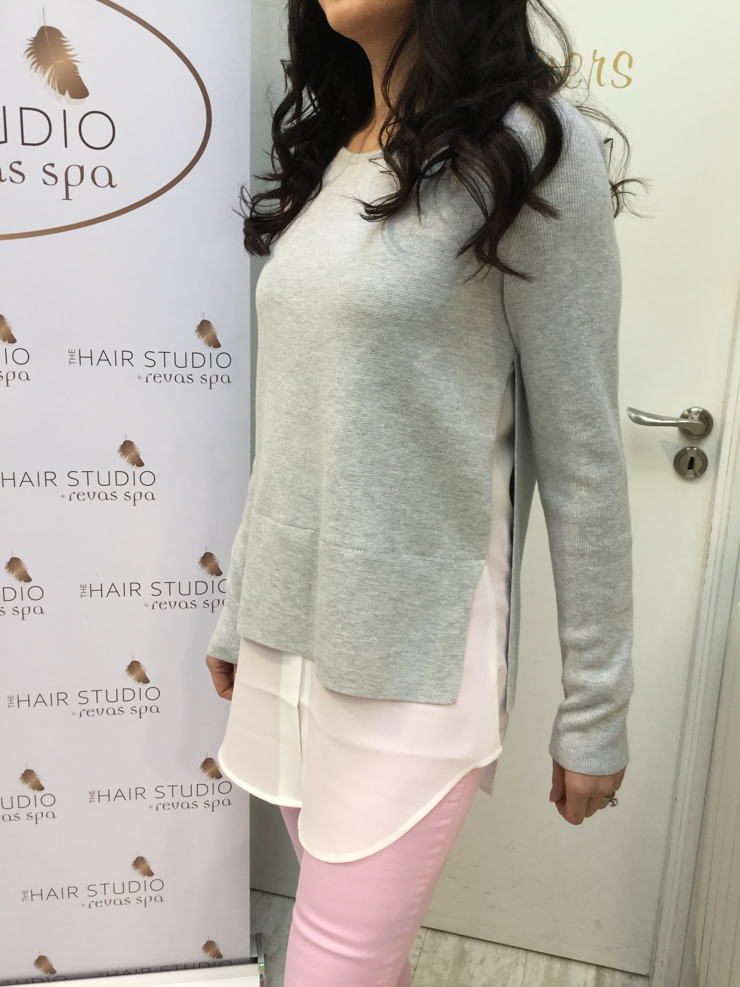Grey Sweater with white blouse effect trim