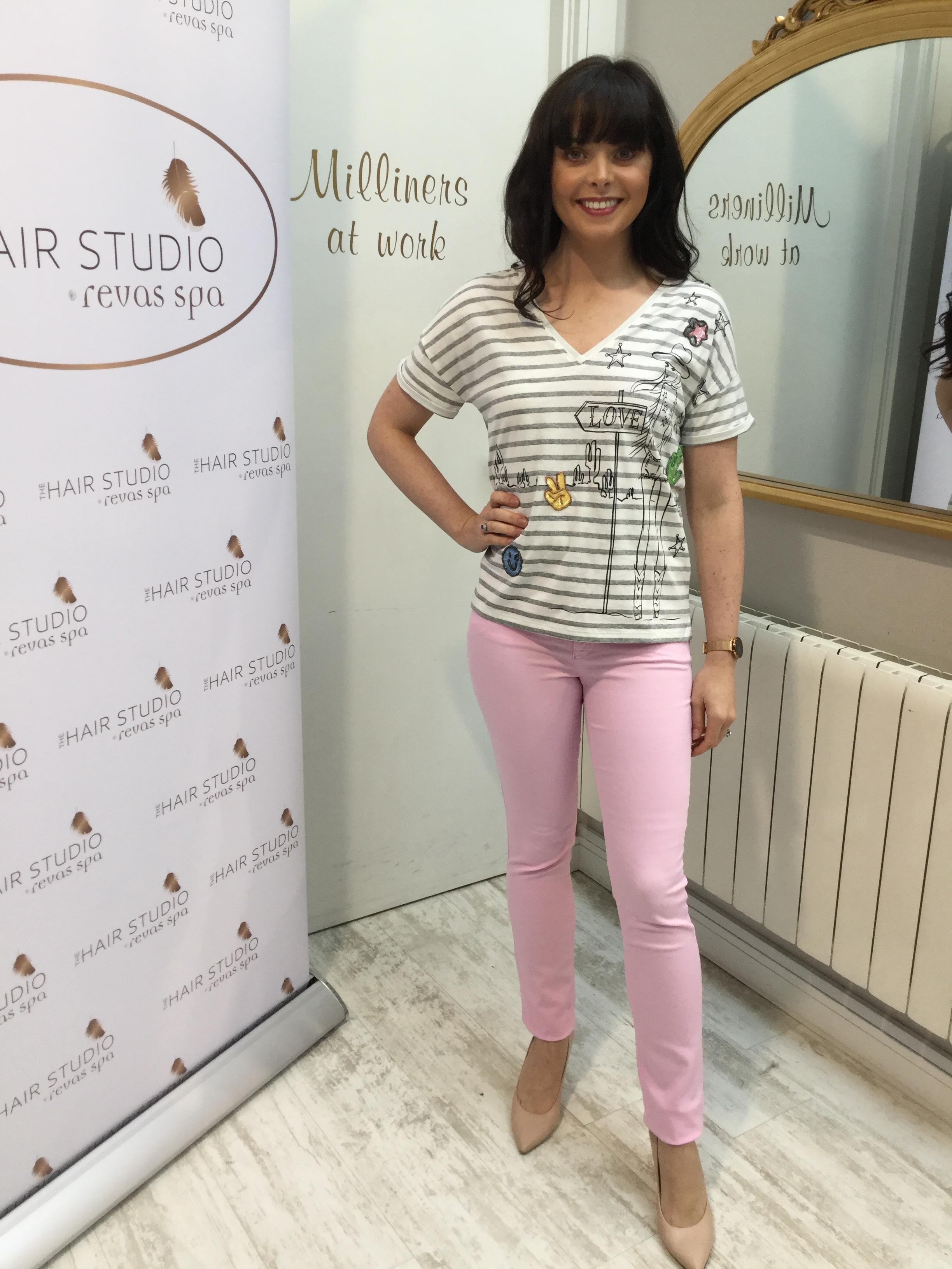 Cream and grey striped tshirt with Cowgirl Lola OUITSHCR