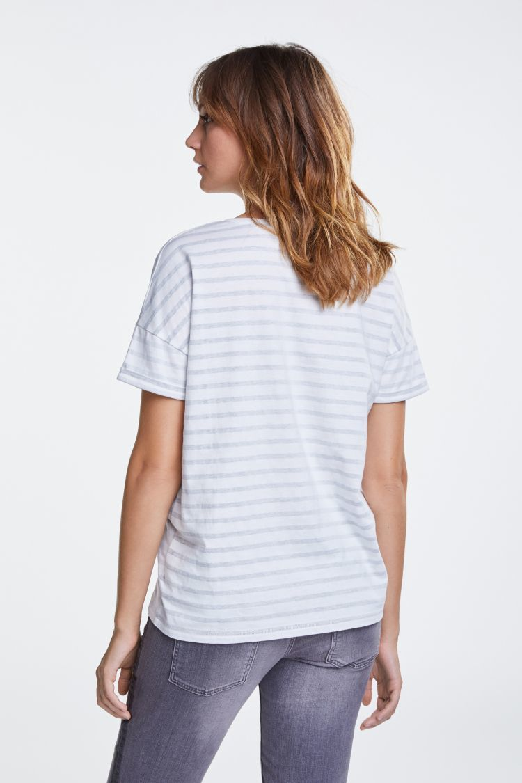Cream and grey striped tshirt with Cowgirl Lola