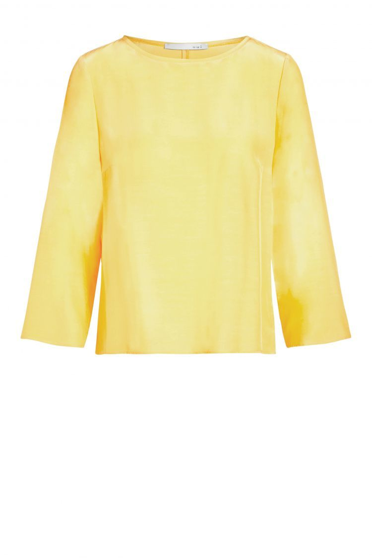 Yellow Top with 3/4 Sleeves and Dipped Hem