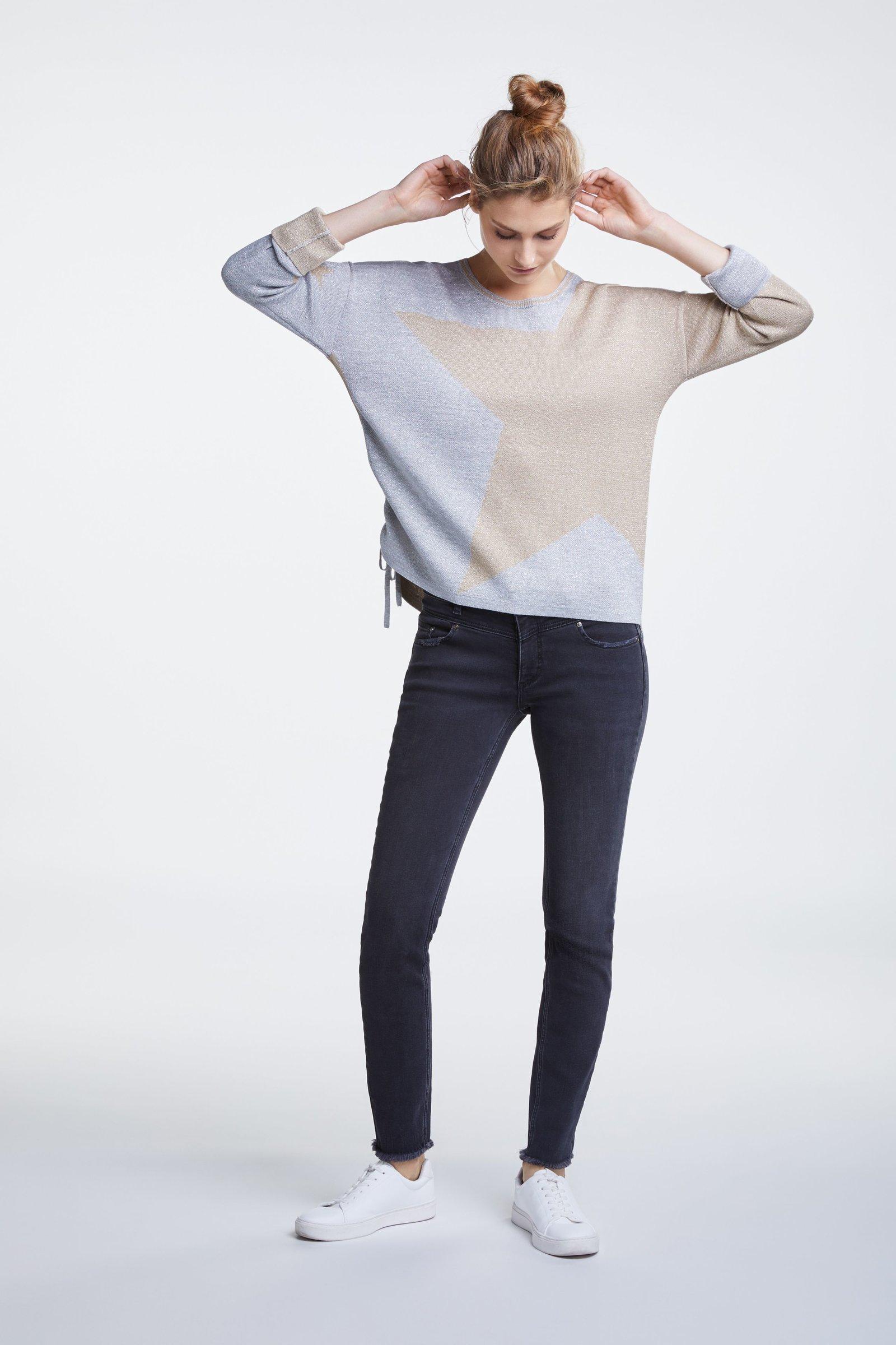 Fine Knit Sweater with Glittery Stars