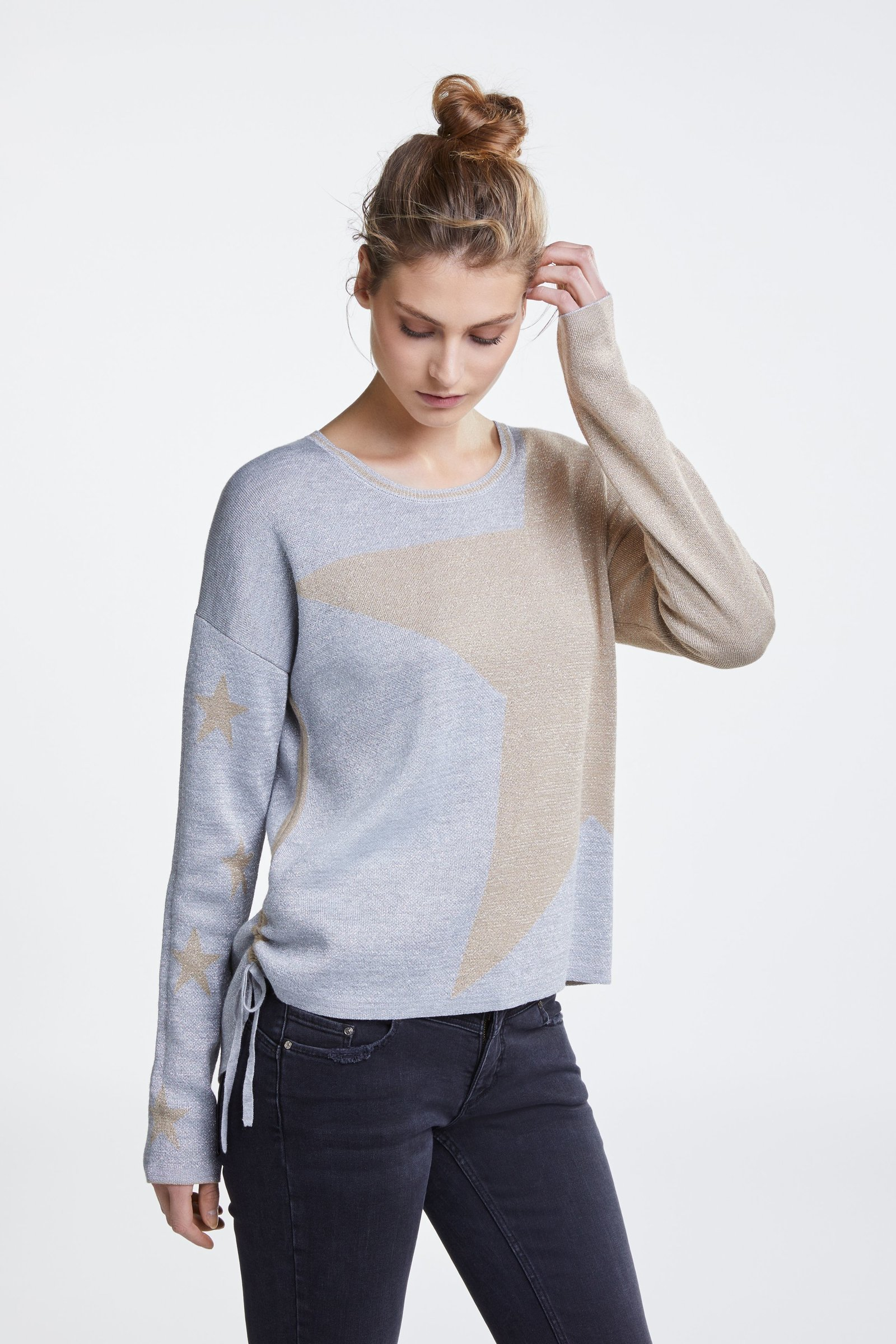 Fine Knit Sweater with Glittery Stars OUISWEATGREY