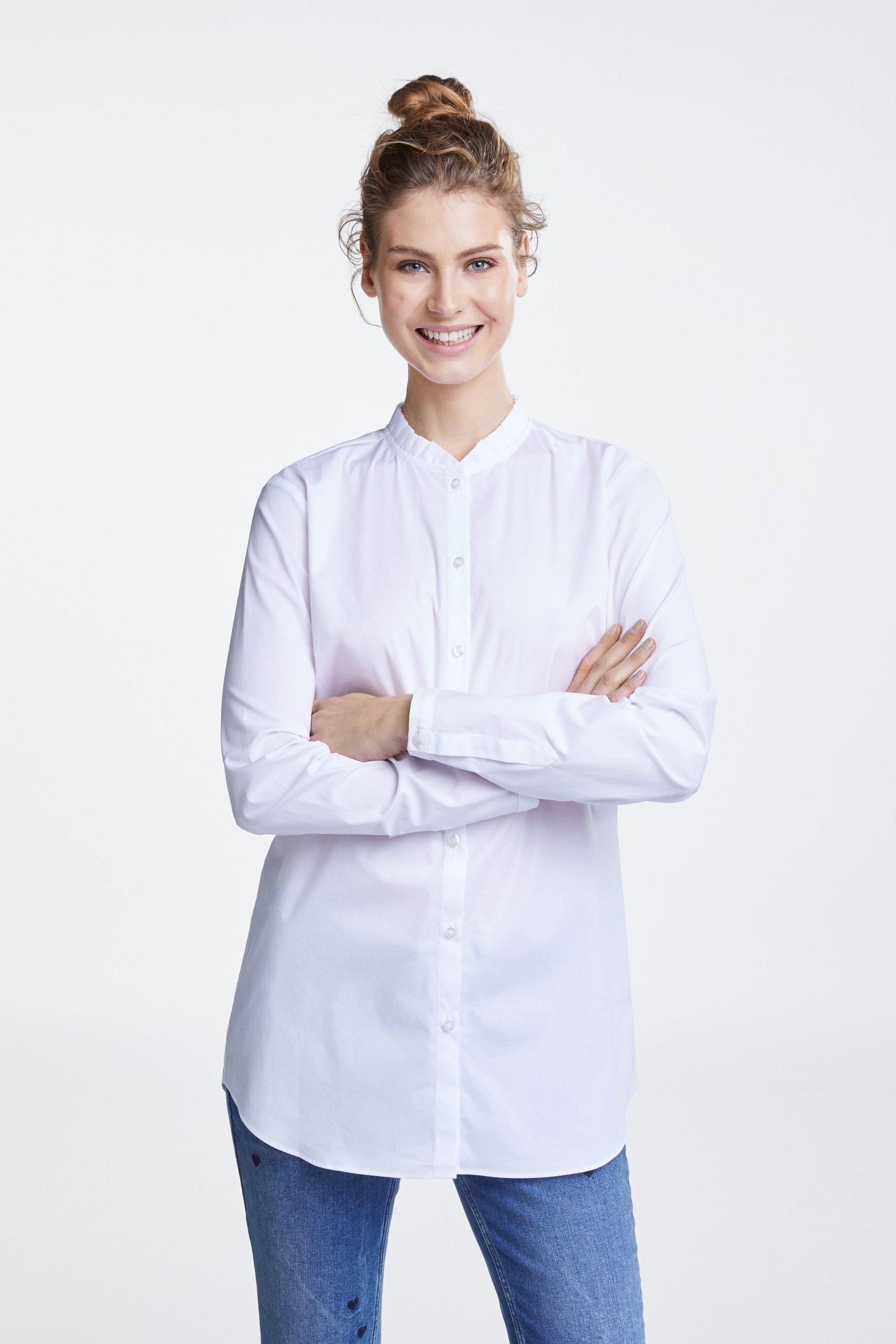 67616eef807910 White Blouse with Frilly stand up Collar OUIBLOUWHT