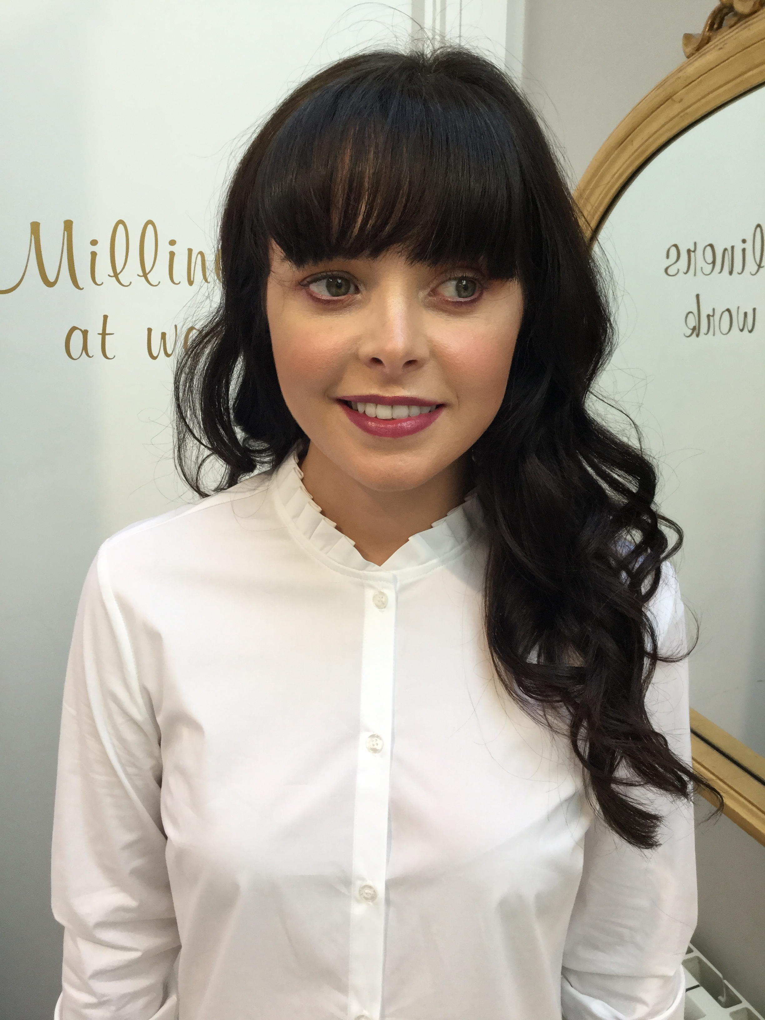 White Blouse with Frilly stand up Collar