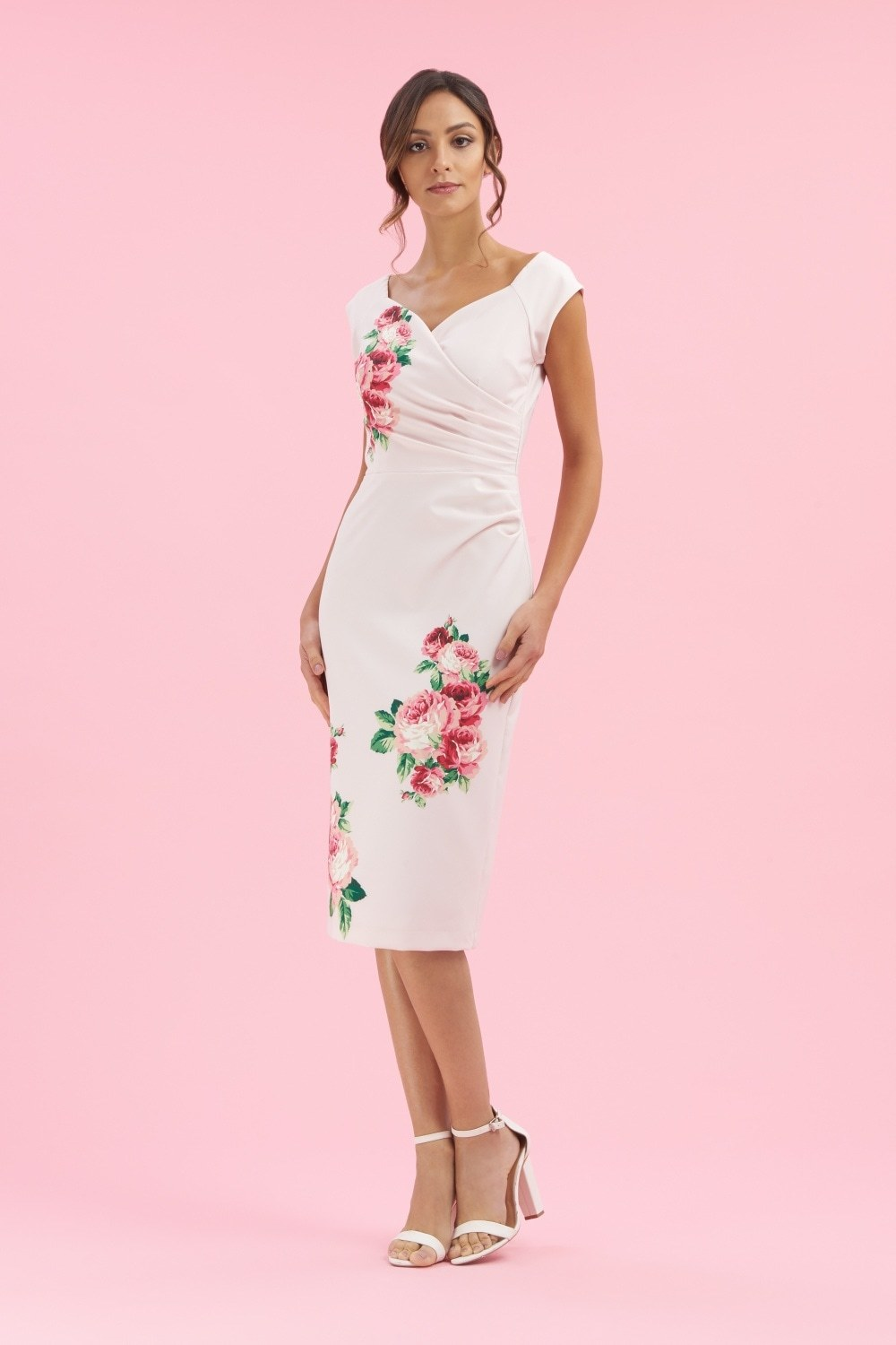 Pink Fitted Dress with Rose print PDCDRPI