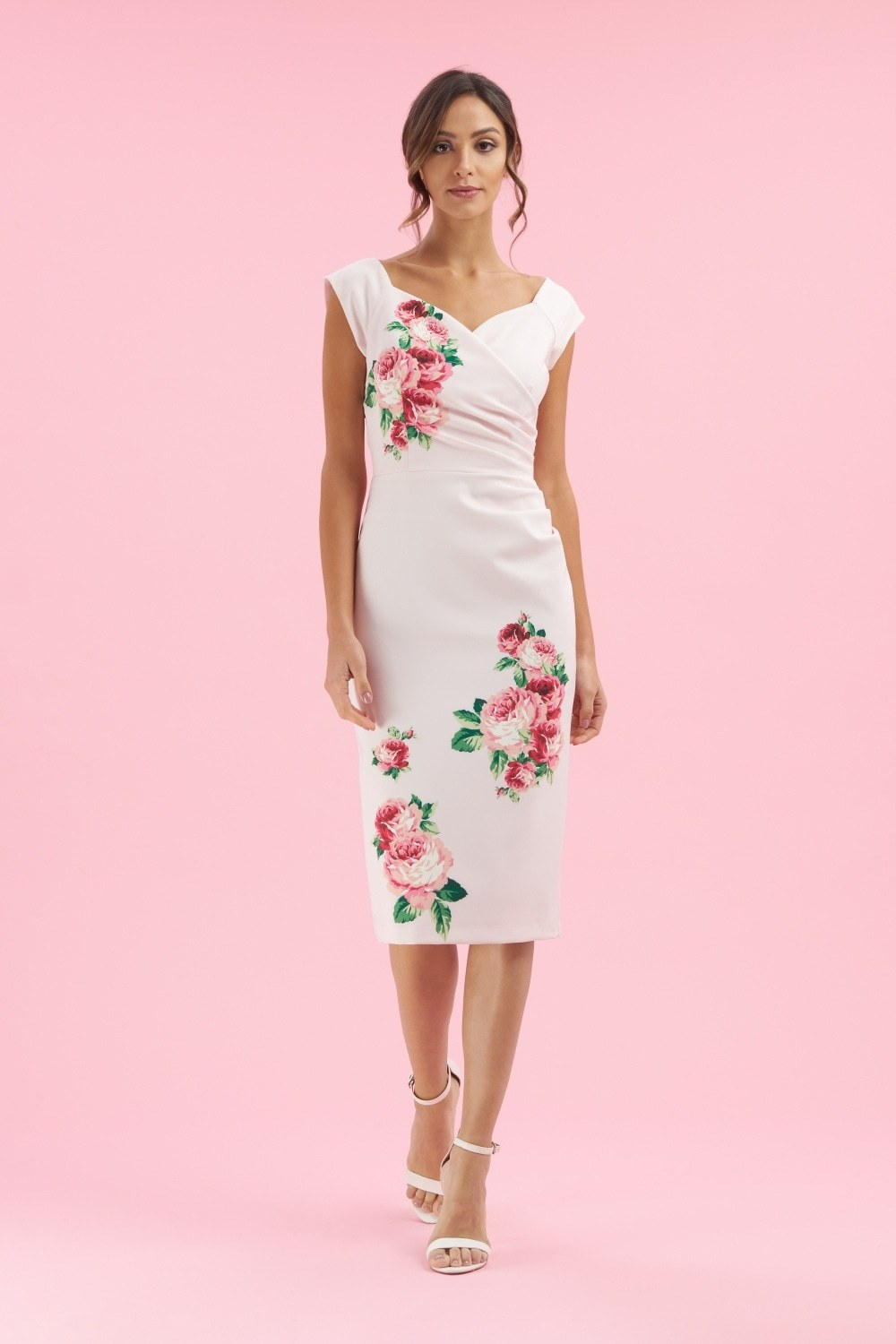 Pink Fitted Dress with Rose print