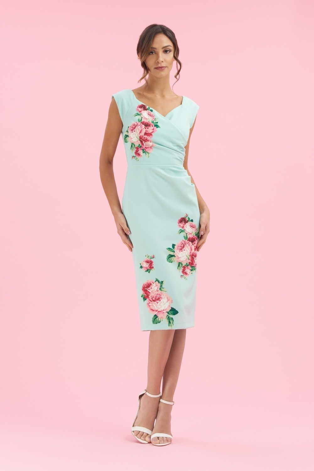 Mint Fitted Dress with Rose Print