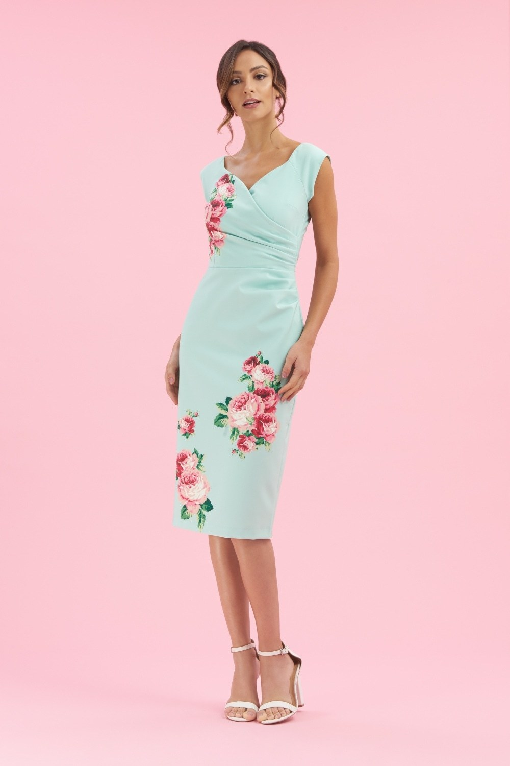 Mint Fitted Dress with Rose Print PDCDRMI
