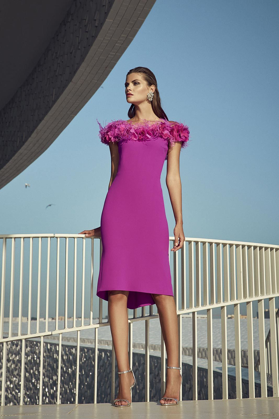 Fuschia Dress with Flower and Feather Embellishment on the Neckline CRDRFUS