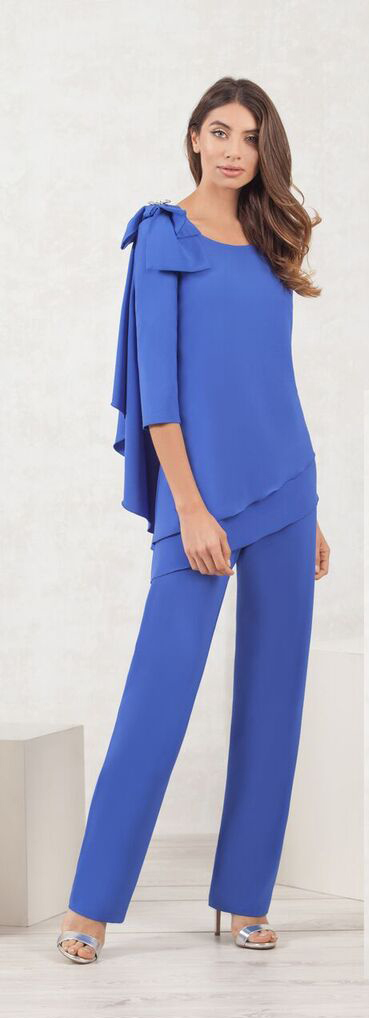 Blue Top and Wide Leg Trouser