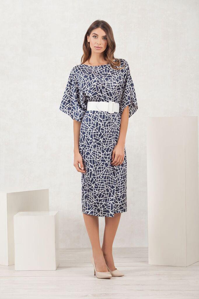Navy and Ivory Geometric Print Dress MHDRNVYIV