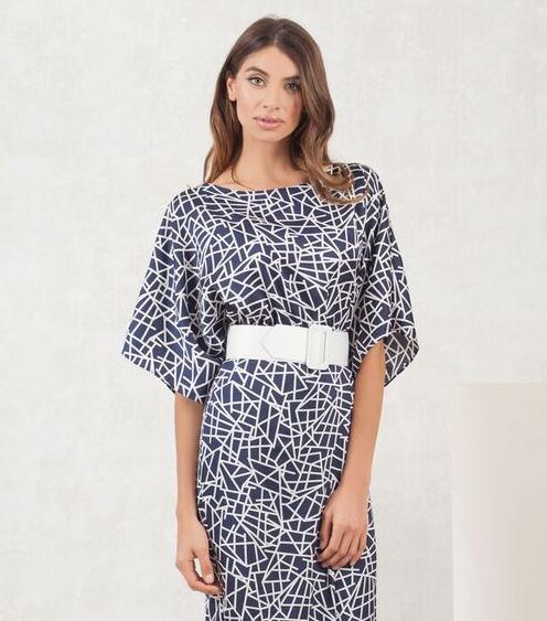 Navy and Ivory Geometric Print Dress