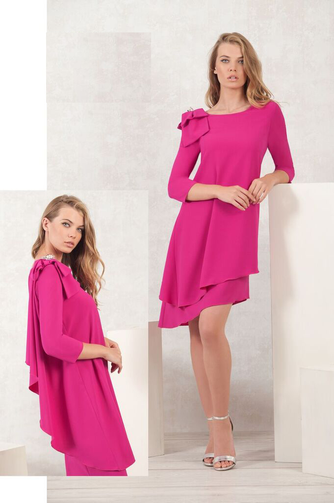 Pink Shift Dress with Bow on Shoulder MHDRPK