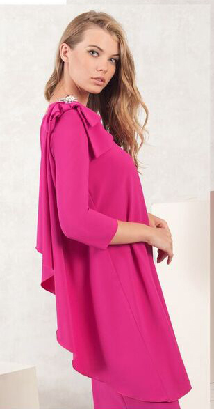 Pink Shift Dress with Bow on Shoulder