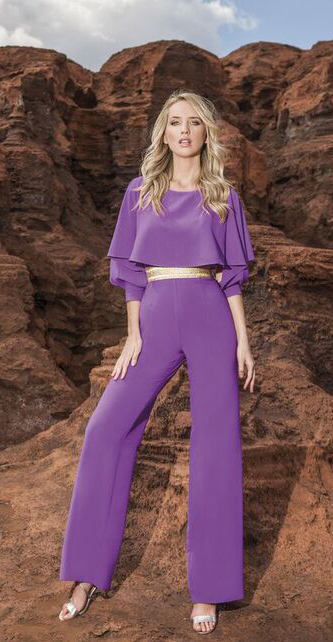 Purple Jumpsuit with Gold belt and cuff details