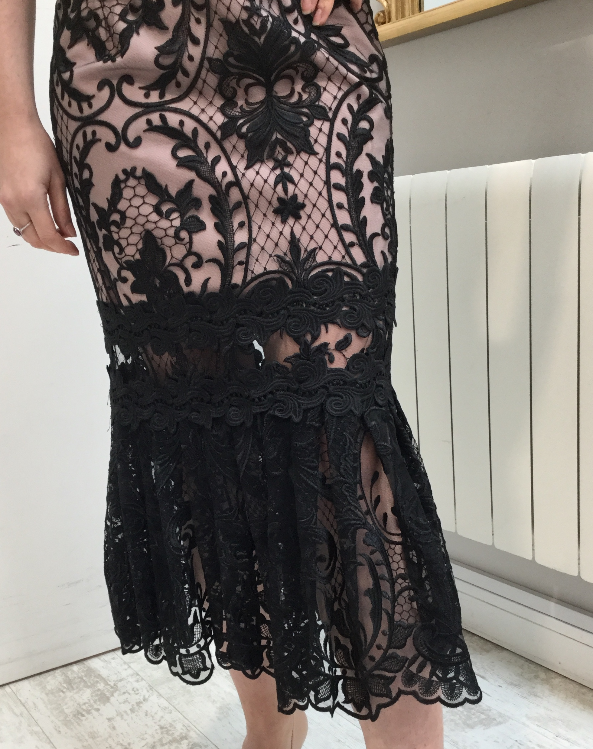 Black Lace dress with Rose Pink Lining