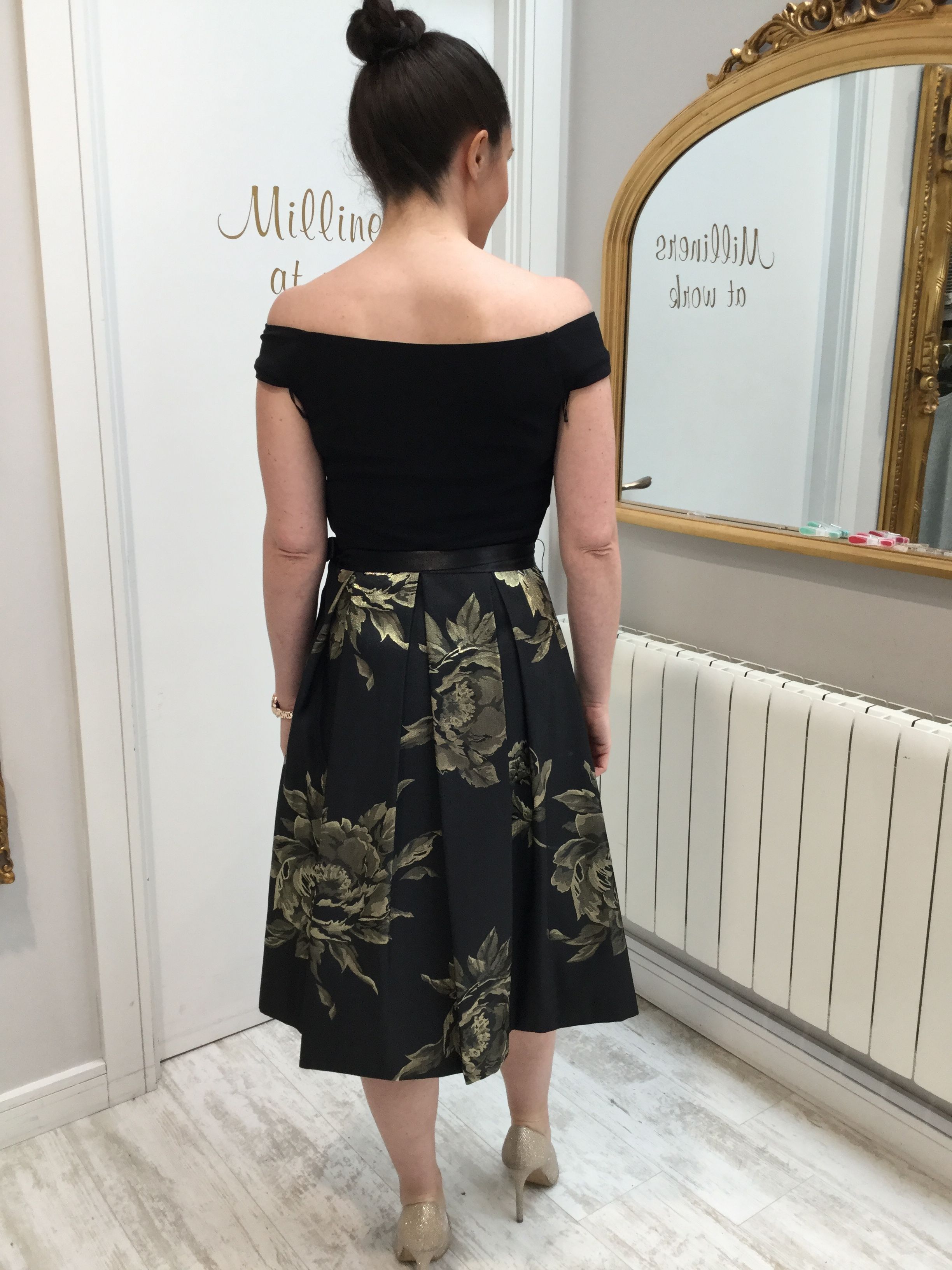Black and Gold Dress with Full Skirt