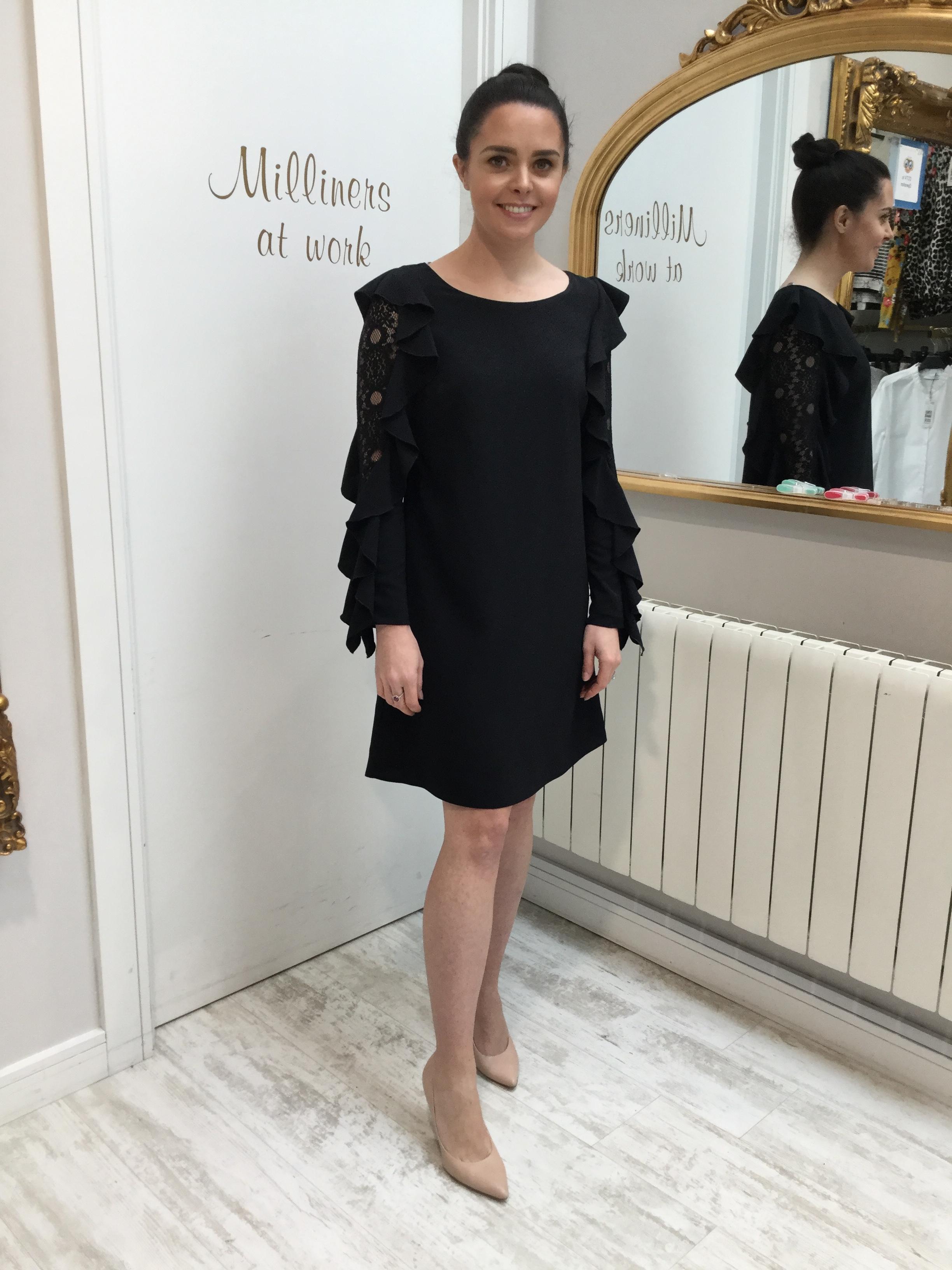 Black Shift Dress with Lace Sleeve CasDRBK
