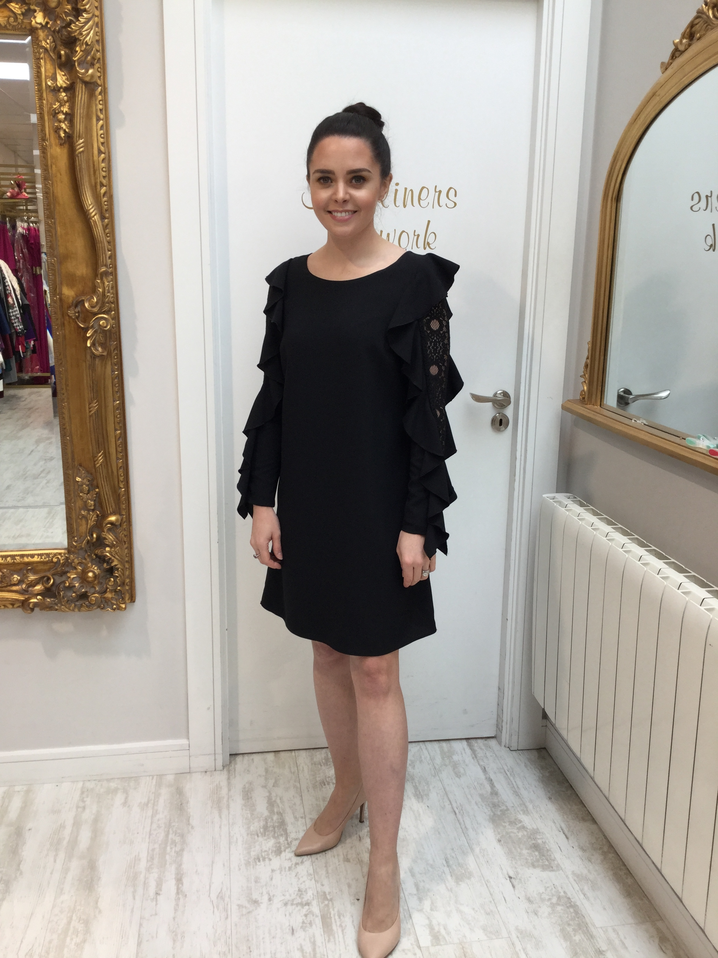 Black Shift Dress with Lace Sleeve