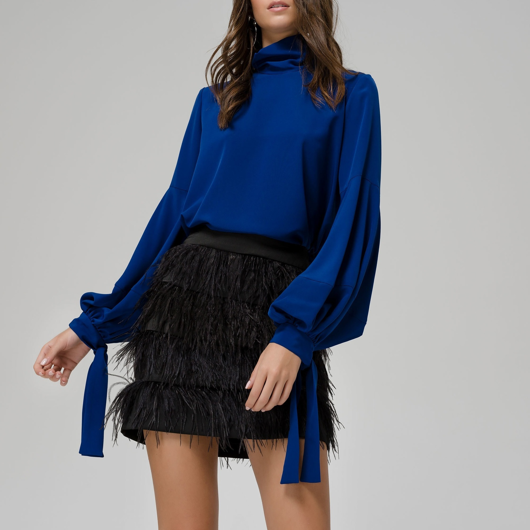 Blue Polo Top with Balloon Sleeves ACCTOPBL