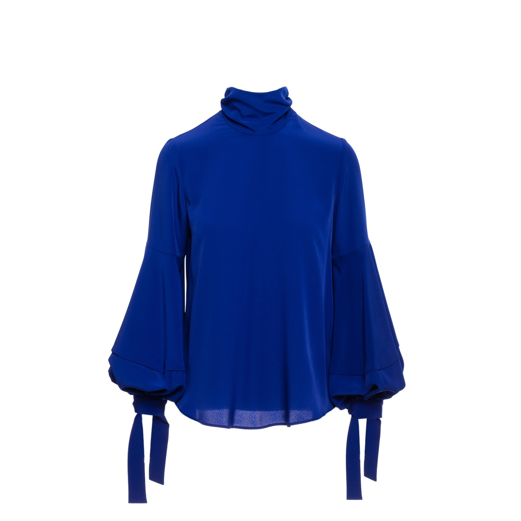 Blue Polo Top with Balloon Sleeves