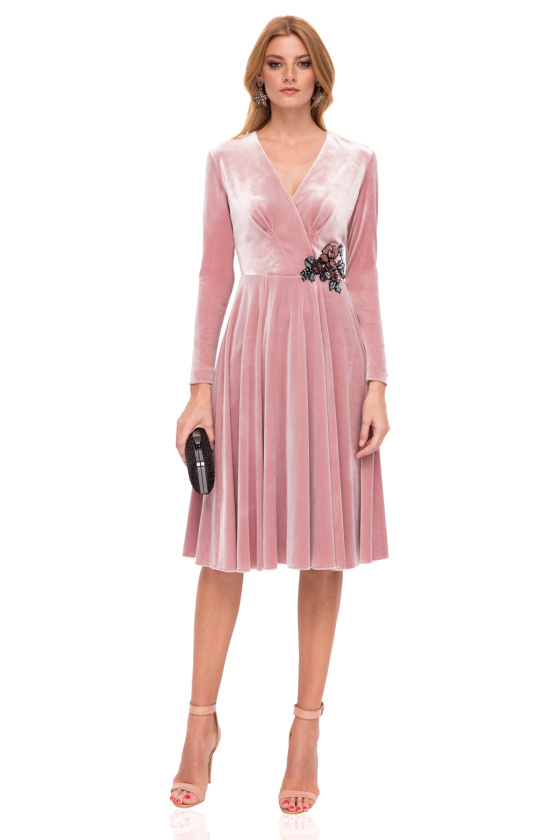 Pale Pink Velvet Dress with Long Sleeves, vneckline and embellishment on the hip NISDRPINK