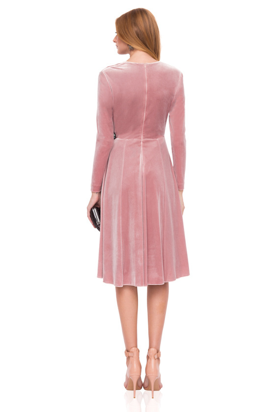 Pale Pink Velvet Dress with Long Sleeves, vneckline and embellishment on the hip