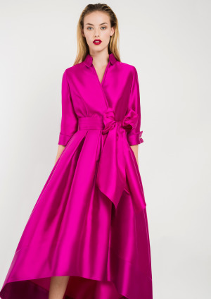 Fuschia Pink Shirt Dress with Hi-Lo Hem