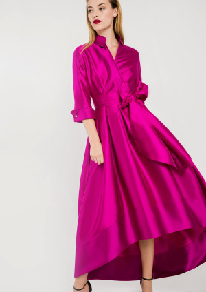 Fuschia Pink Shirt Dress with Hi-Lo Hem ALBCDRFUS