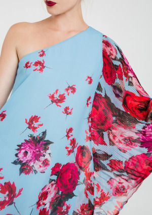 One shoulder Dress in Blue, Red and Pink