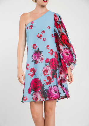 One shoulder Dress in Blue, Red and Pink SCDRBPR
