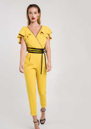 Mustard Jumpsuit with Black Belt and VFront and Back ACJUMUS