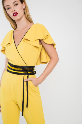 Mustard Jumpsuit with Black Belt and VFront and Back
