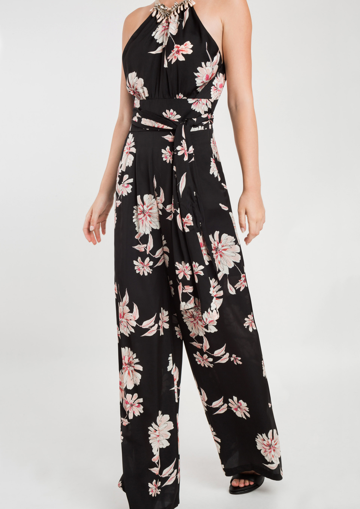 Printed Jumpsuit with Necklace Detail