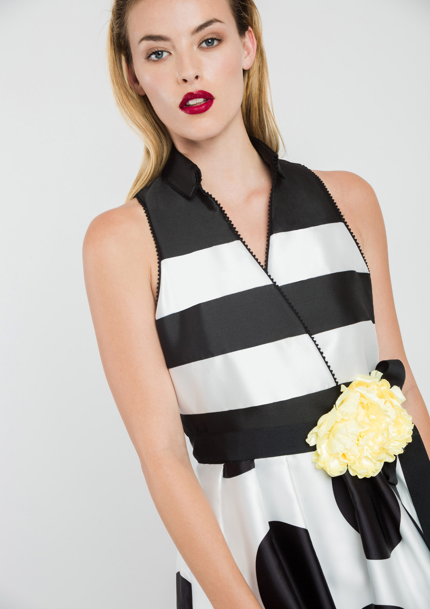Black and White Dress with Collar