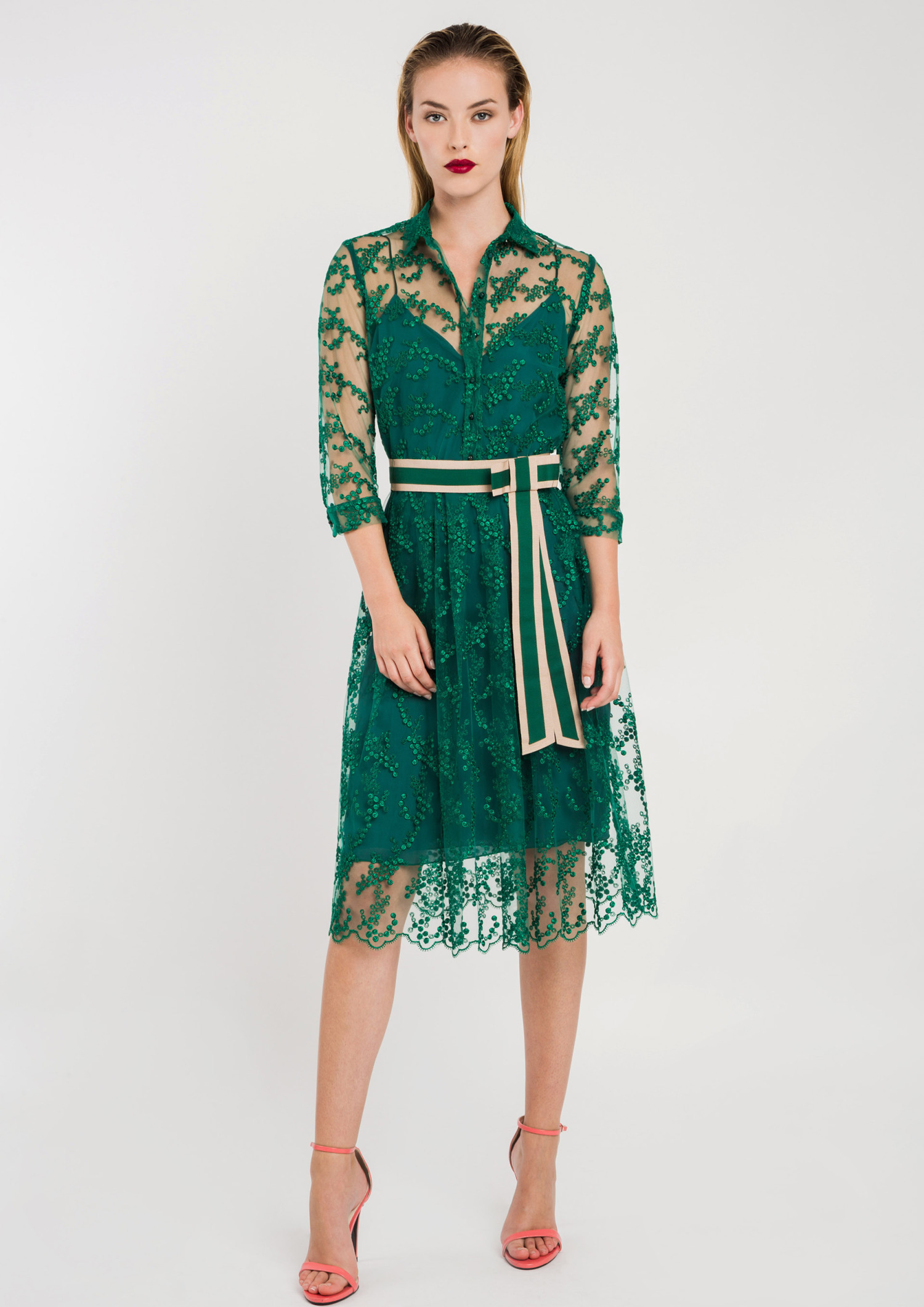 Lace Shirt Dress with Belt Green ACDR3409