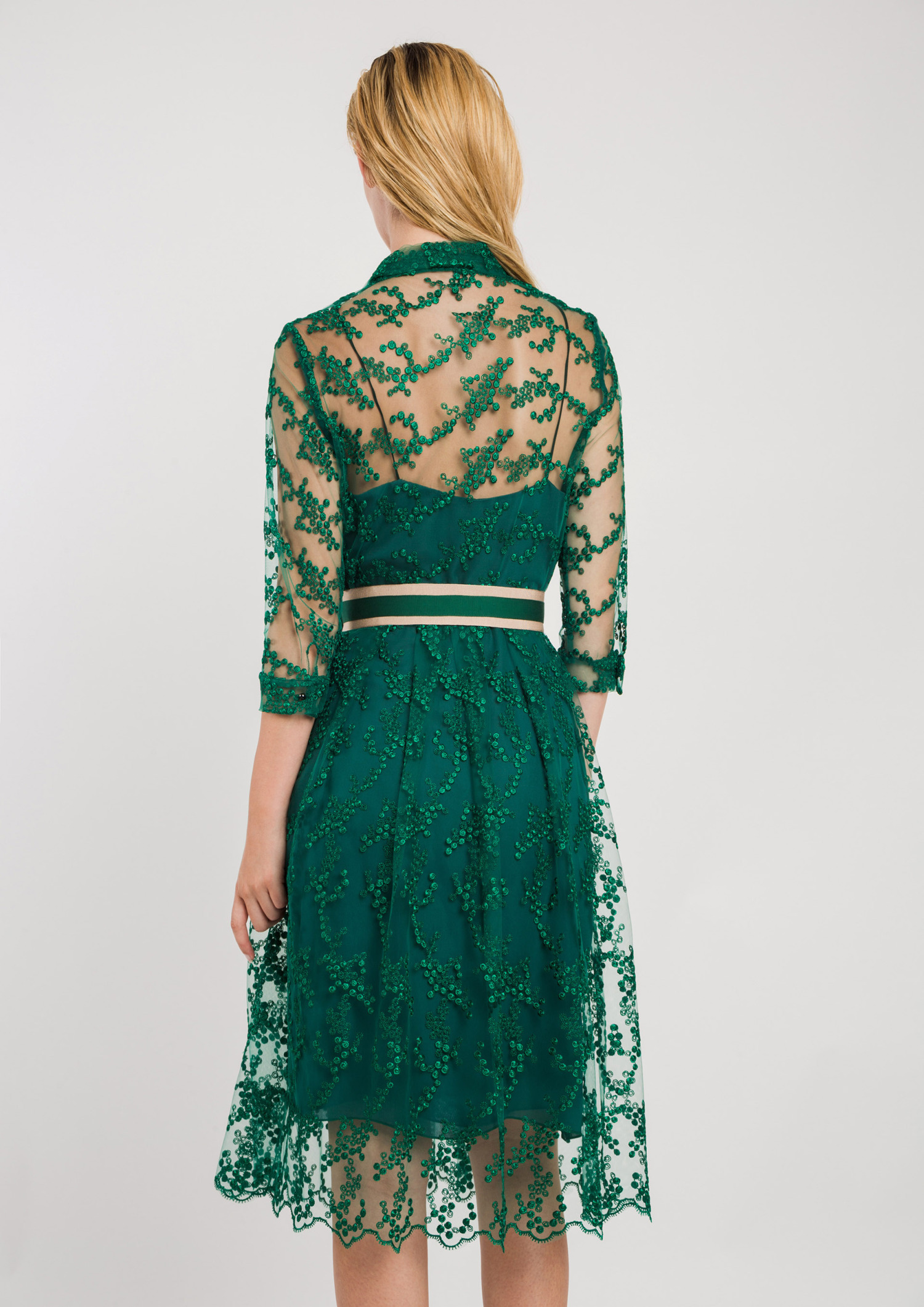 Lace Shirt Dress with Belt Green