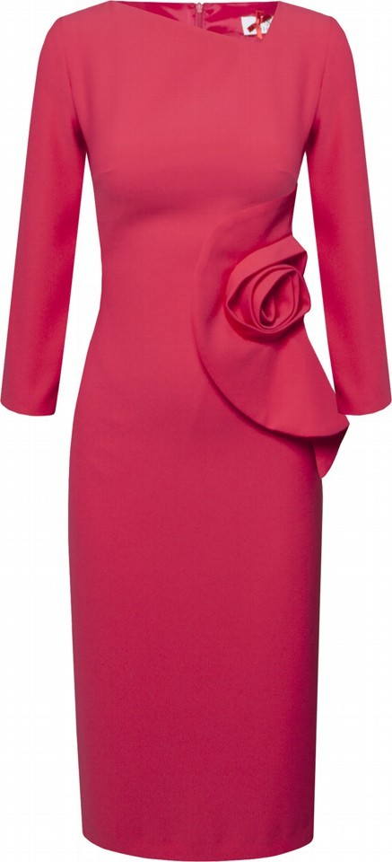 Dress with Three Quarter Sleeve and Rose Detail SPDRCOR