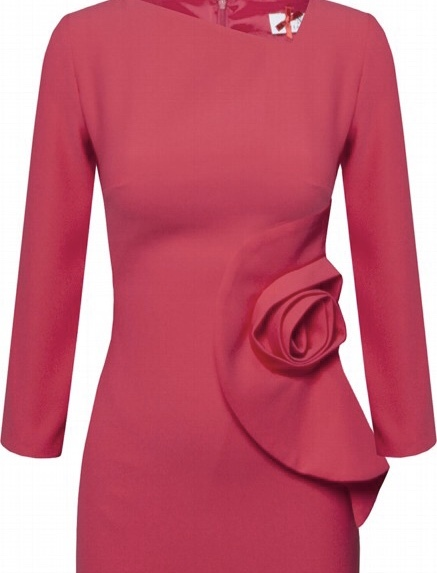 Dress with Three Quarter Sleeve and Rose Detail